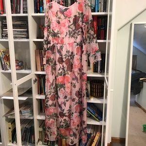 Rose floral belted maxi dress - never worn